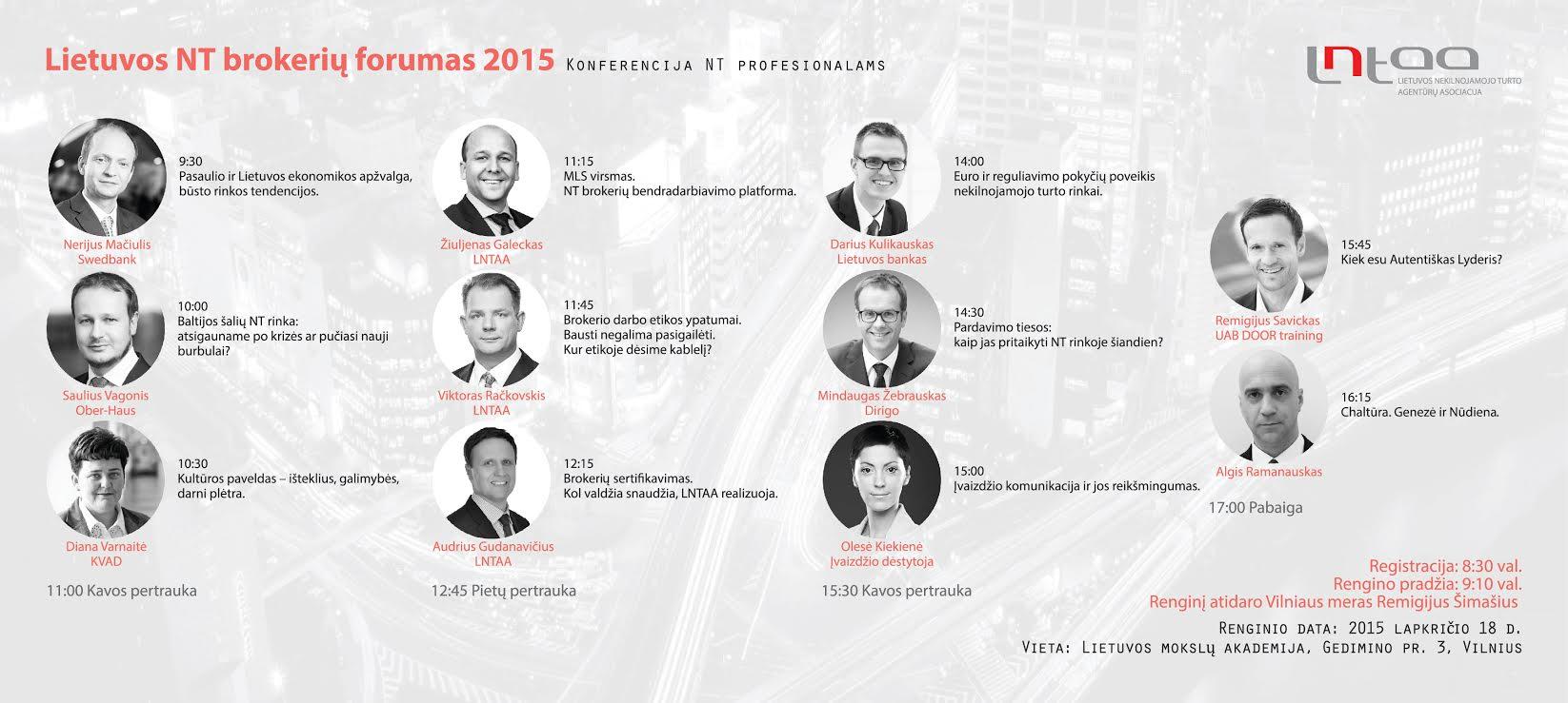 Lietuvos NT brokerių forumas 2015. Renginys profesionalams.